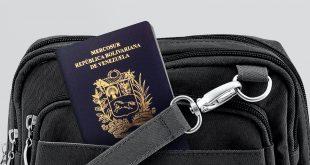 Close up of Venezuela Passport in Black Travel Bag Pocket